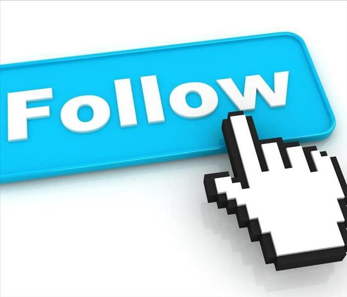 hand pointing at follow button